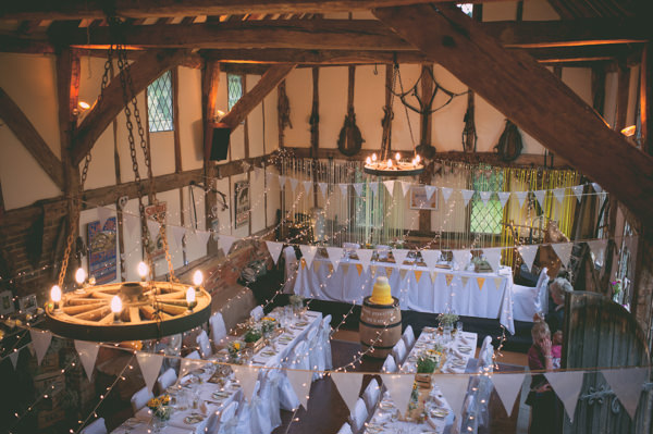 Country Rustic Yellow Barn Wedding Bunting Fairy Lights http://www.sophieduckworthphotography.com/