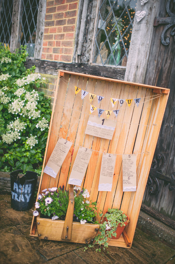 Country Rustic Yellow Barn Wedding Crate Table Plan http://www.sophieduckworthphotography.com/