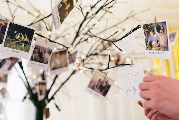 Country Garden Camping Marquee Wedding Polarod Guest Tree http://www.chebirchhayesphotography.com/