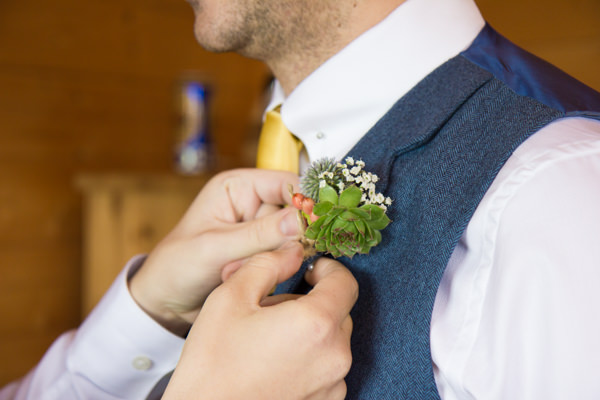 Shabby Chic Farm Wedding Succulent Buttonhole http://bluedaisyphotography.co.uk/