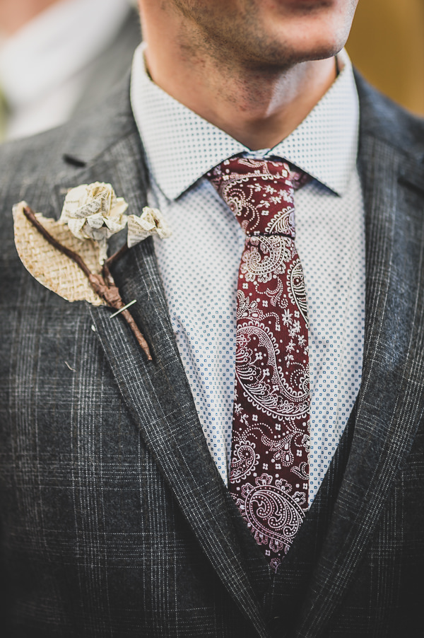 Magical Crafty Outdoorsy Village Hall Wedding Paisley Tie Groom Paper DIY Buttonhole http://www.foxleyphotography.com/