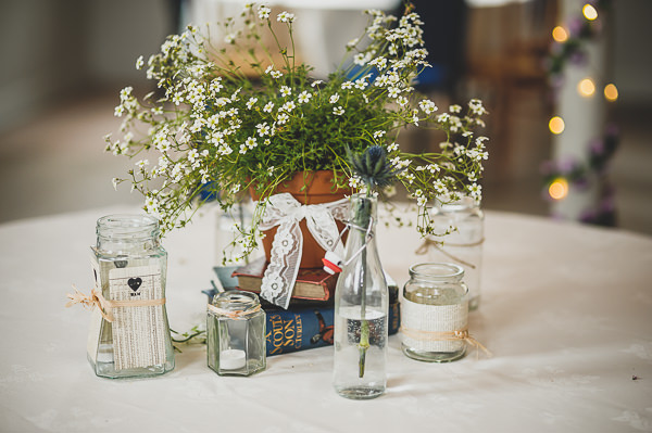 Magical Crafty Outdoorsy Village Hall Wedding Potted Plant Flowers http://www.foxleyphotography.com/