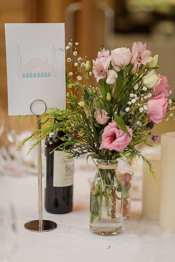 Personal Elegant Dales Wedding Pink Flowers Bottles http://pauljosephphotography.co.uk/