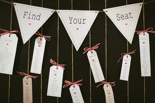 Quirky Stylish Barn Wedding Bunting Luggage Tag Seating Plan http://www.mikeandtom.co.uk/