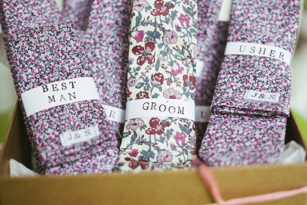 Quirky Stylish Barn Wedding Liberty Print Ties Groom http://www.mikeandtom.co.uk/