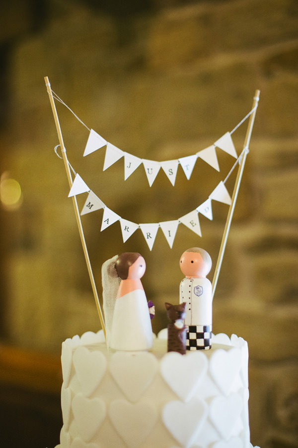 Quirky Stylish Barn Wedding Bunting Bride Groom Cake Topper http://www.mikeandtom.co.uk/
