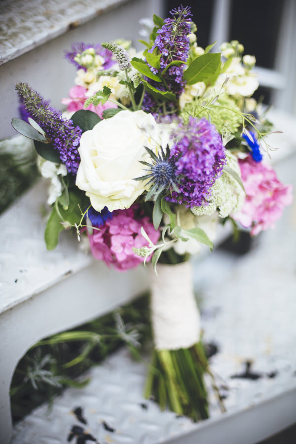 Intimate Cotswolds Village Garden Marquee Wedding Thistle Rose Bridal Bouquet Purple Pink  http://www.traceyhosey.co.uk/