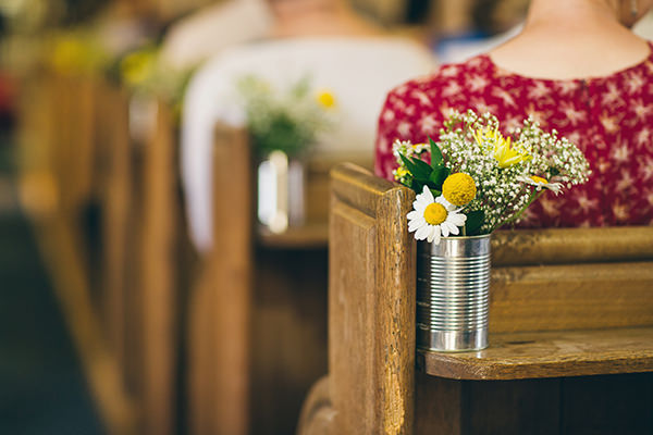 Quirky Campsite Outdoor Wedding Tin Can Church Flowers  http://www.lifelinephotography.co.uk/