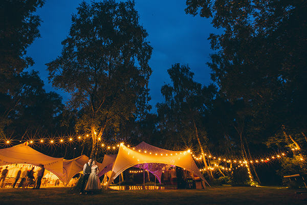Quirky Campsite Outdoor Wedding Festoon Lights Marquee http://www.lifelinephotography.co.uk/