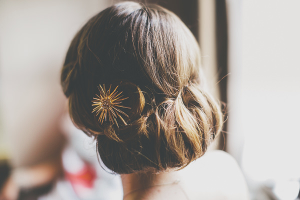 Bride Twist Hair Up Do Vintage Style Creative Pom Pom Outdoor Wedding http://www.milliebenbowphotography.com/