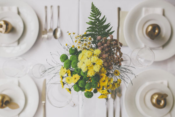 Creative Pom Pom Outdoor Wedding Yellow Flowers Tables http://www.milliebenbowphotography.com/
