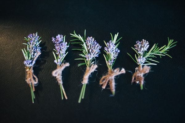 Relaxed Rainy Rustic Yorkshire Wedding Lavender Buttonhole http://www.stottandatkinson.com/