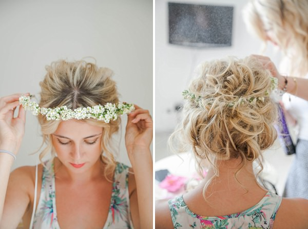 Bohemian Italy Destination Wedding Rustic Tousled Messy Bride Hair Style http://www.riabeth.com/