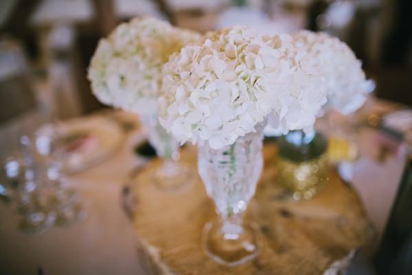 Stylish White DIY Floral Filled Barn Wedding Hydrangea Flowers Vase http://www.chrisbarberphotography.co.uk/
