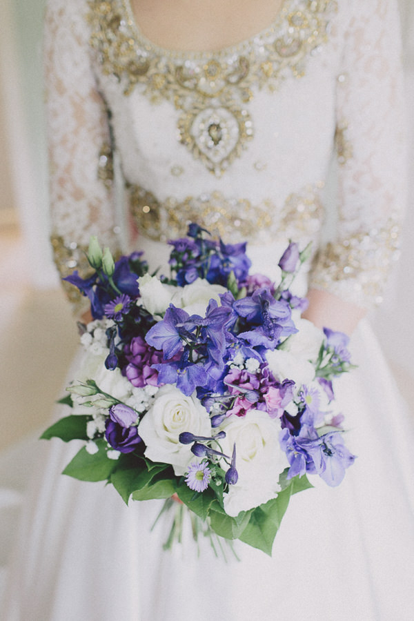 Beautiful English Indian Wedding Purple White Bridal Bouquet  http://www.scuffinsphotography.com/