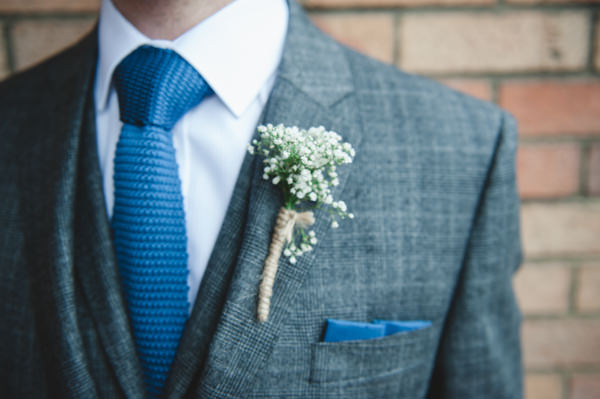 Simple Warm Festive Winter Wedding Groom Check Suit Knitted Tie Baby Breath Buttonhole http://mackphotography.co.uk/