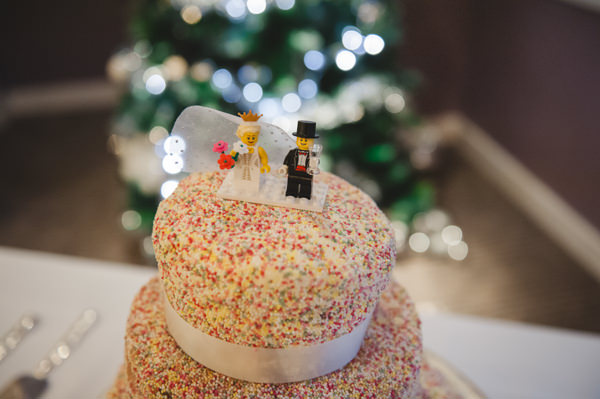 Simple Warm Festive Winter Wedding Hundreds Thousands Cake Lego Topper http://mackphotography.co.uk/