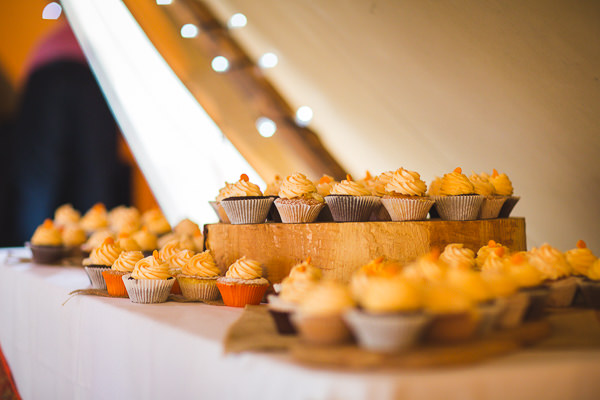 Outdoor Camping Tipi Orange Wedding Cupcakes http://kategrayphotography.com/