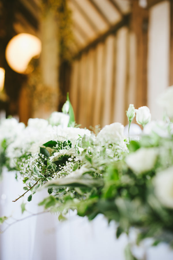 Home Grown White Flower Filled Wedding White Green Top Table Flowers Garland http://www.alextentersphotography.co.uk/