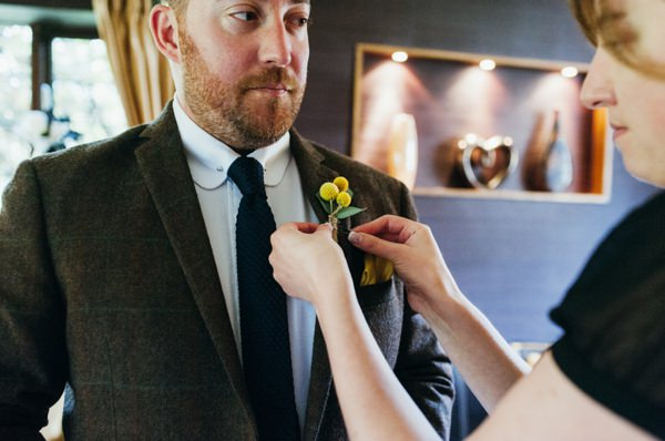 Rustic Nature Yellow Barn Wedding Tweed Brown Suit Groom Billy Button Buttonhole http://www.babbphoto.com/