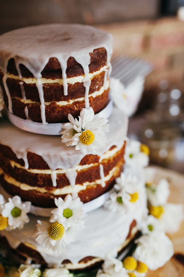Rustic Nature Yellow Barn Wedding Icing Drip Naked Sponge Cake Daisy Billy Buttons http://www.babbphoto.com/