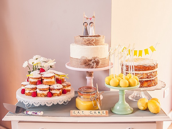 Quirky Rustic Lemon Yellow Wedding Cake Table Dessert http://www.motifphoto.co.uk/