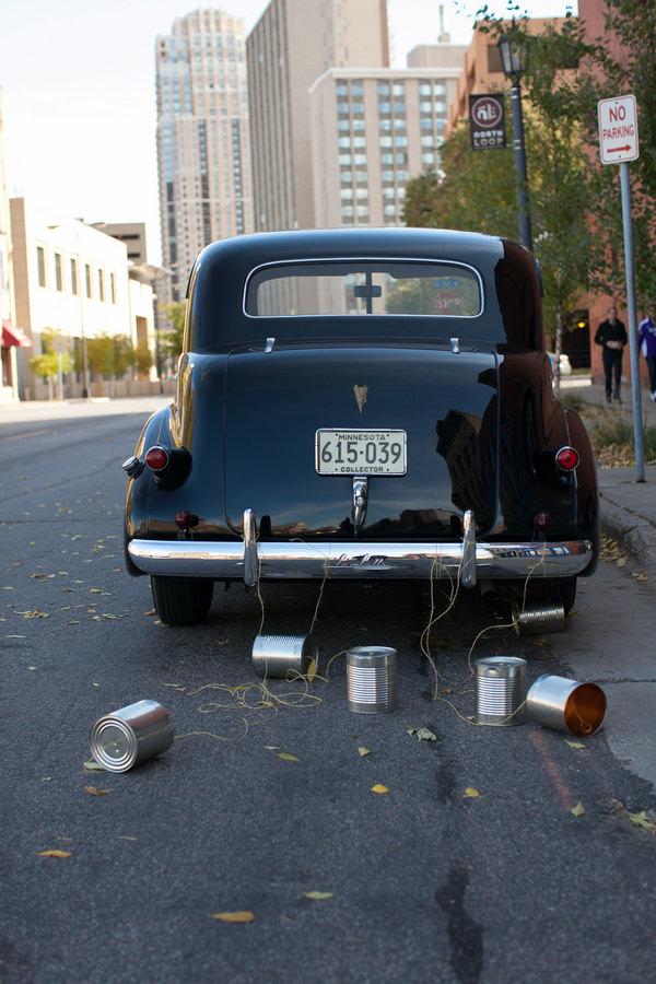 Simple Elegant Black Tie Minnesota Wedding Classic Car Decoration Tin Cans http://www.erinjohnsonphotoblog.com/