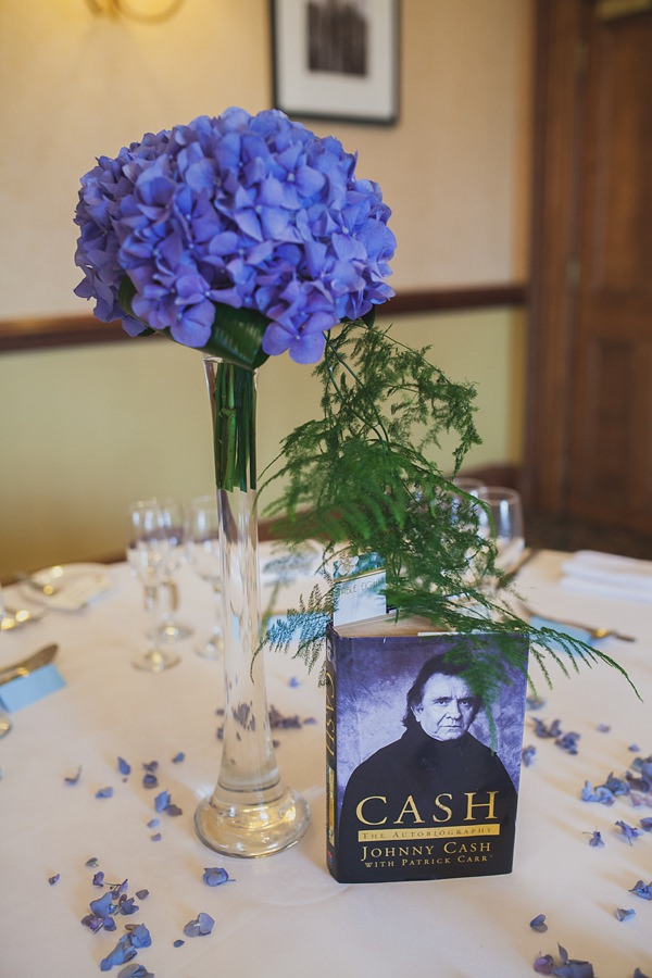 Royal Blue Hydrangea Flowers Tables Centrepieces Vintage Glamour Wedding http://www.sallytphotography.com/