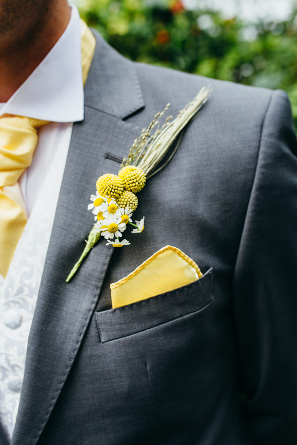Earthy Natural Rustic Yellow Turquoise Wedding Daisy Buttonhole Groom http://www.graceandtheheart.co.uk