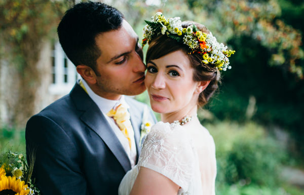 Earthy Natural Rustic Yellow Turquoise Wedding Flowercrown Bride http://www.graceandtheheart.co.uk