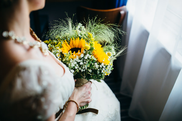 Earthy Natural Rustic Yellow Turquoise Wedding Sunflower Bridal Bouquet http://www.graceandtheheart.co.uk