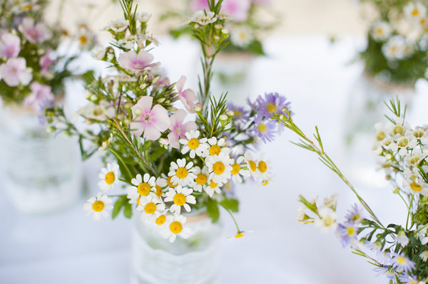 Pretty Country Garden Wedding Daisy Flowers Jars Lace http://fionasweddingphotography.co.uk/