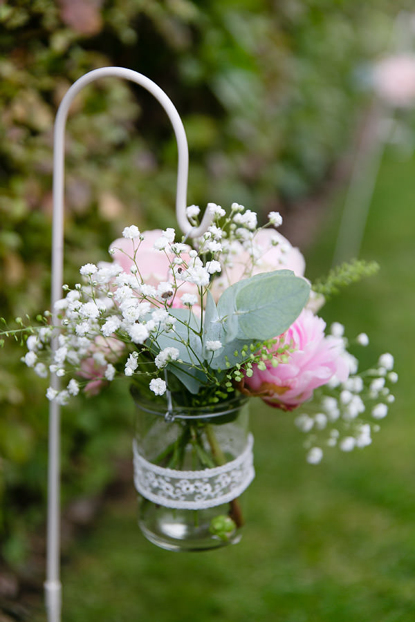 Magical Romantic Pink Green Fairy Lights Wedding Jar Lace Flowers Gypsophila Peony Rose http://www.touchphotography.co.uk/