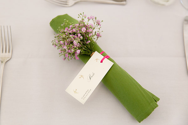 Magical Romantic Pink Green Fairy Lights Wedding Pink Gypsophila Place Setting Name http://www.touchphotography.co.uk/