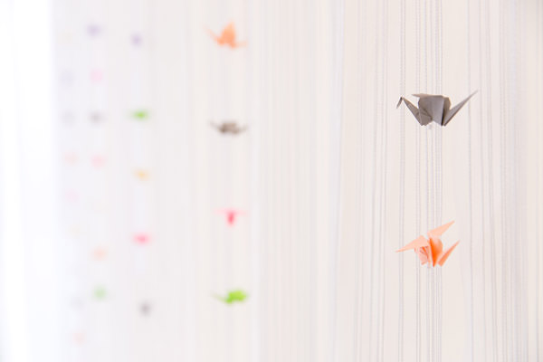 Magical Romantic Pink Green Fairy Lights Wedding Origami Paper Cranes http://www.touchphotography.co.uk/