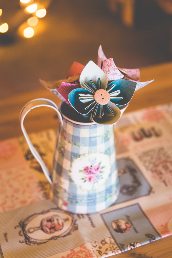 Paper Flowers Origami Jugs Centrepiece Vintage Tea Party Tipi Wedding