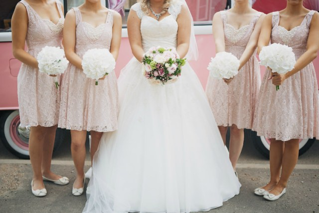 Pink Bridesmaid Dresses Pretty Pink Shabby Chic Barn Wedding http://verman.co.uk/