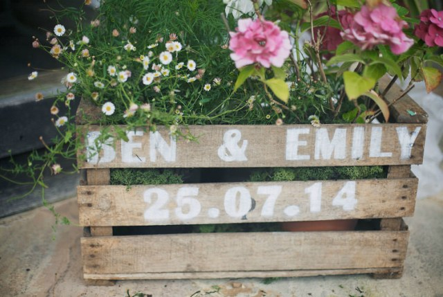 Personalised Crate Flowers Pretty Pink Shabby Chic Barn Wedding http://verman.co.uk/