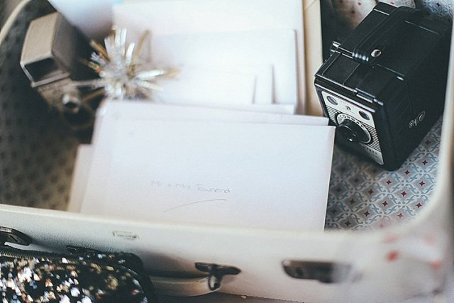 Suitcase Card Box Whimsical Green White Fairy Lights Winter Wedding http://jesspetrie.com/