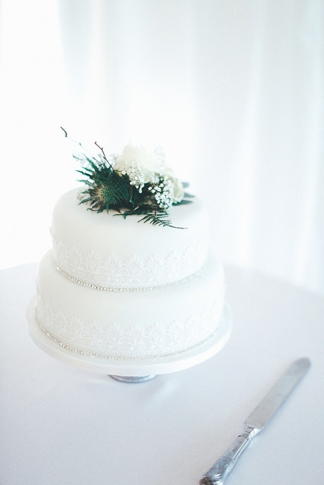 Classic Cake Whimsical Green White Fairy Lights Winter Wedding http://jesspetrie.com/