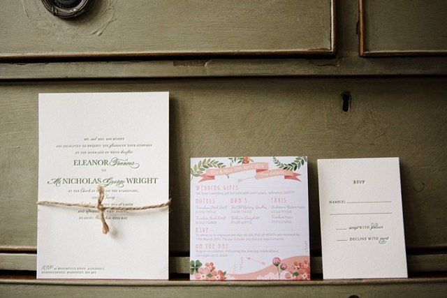Pretty Floral Stationery Invitations Letter Press Country Chic Sage Green Marquee Wedding http://www.lolarosephotography.com/