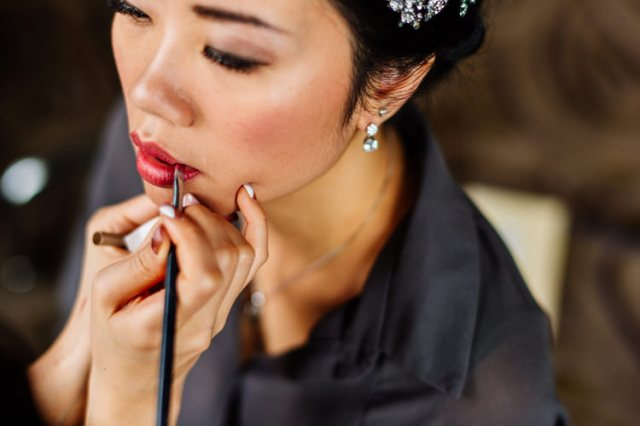 Bride Bridal Make Up Red Lip Classic Timeless Oriental Twist Wedding http://www.aaroncollettphotography.co.uk/