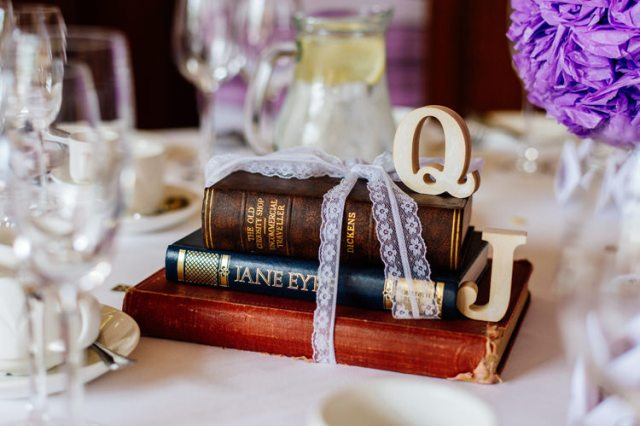 Book Lace Ribbon Letters Decor Tables Centrepiece Classic Timeless Oriental Twist Wedding http://www.aaroncollettphotography.co.uk/