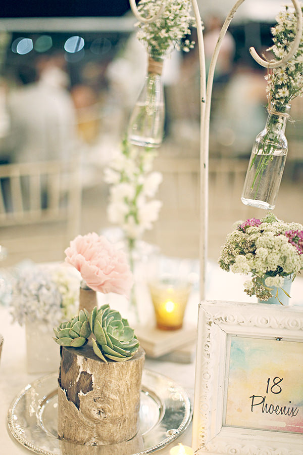 Log Succulent Peony Flowers Table Centrepiece Coachella Inspired Philippines Wedding http://wedoitforlove.net/