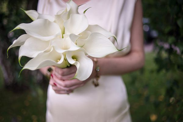 White Calla Lily Bouquet Flowers Bride Bridal Stylish Modern Monochrome Village Hall Wedding http://www.sarareeve.com/