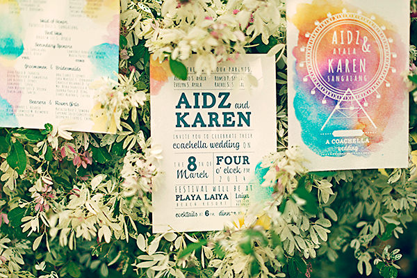 Watercolour Bohemian Stationery Invitations Coachella Inspired Philippines Wedding http://wedoitforlove.net/