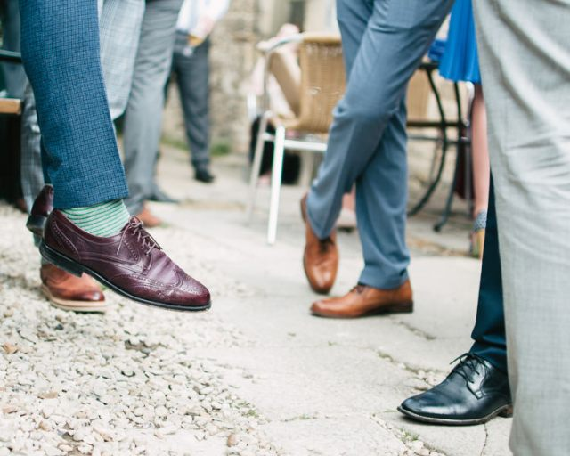 Grooms Shoes Brogues Laid Back Pastel Lace Barn Wedding http://www.johnbarwoodphotography.co.uk/