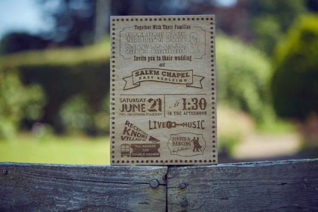 Wood Wooden Engraved Stationery Invitation Family Friendly DIY Village Hall Wedding http://www.novaweddingphotography.co.uk/