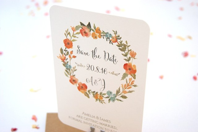 Flower Garland Save The Dates Stationery Hummingbird Cards