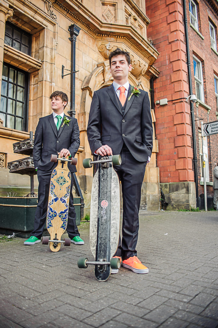 Slaters Groom Vans Tie Orange Skateboard Bright Multicolour DIY Skater Village Hall Herefordshire Wedding http://www.robfarrellphotography.co.uk/